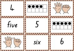 0–10 Memory Match or Snap game cards to practise numbers, number words, finger patterns and tens frames.  Free printable.