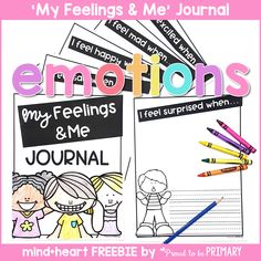 This FREE 'My Feelings & Me' writing journal sample includes a interline journal for children to record their experiences with different emotions through words and pictures. Use the writing activity to help children identify the emotions they feel Teaching Emotions, Teaching Social Skills, Social Emotional Learning, Feelings And Emotions, Teaching Kids, Teaching Resources, Feelings Games, Primary Teaching, Classroom Resources