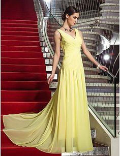 Homecoming Formal Evening/Military Ball Dress - Daffodil Plus Sizes Sheath/Column V-neck Sweep/Brush Train Georgette – GBP £ 65.69