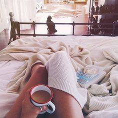 morning coffee, sleep late, cat and dogs in bed with you, and breakfast in bed on a tray, with flowers, back rub maybe a mimosa as well: Sunday Morning, Cat, Teen Definition, Bed, Coffee, Book, Lazy Days, Comfy Cozy