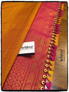 Bridal Saree Tassel Saree Tassels Designs, Saree Kuchu Designs, Pattu Saree Blouse Designs, Bridal Blouse Designs, Lace Saree, Wedding Silk Saree, Bandhani Saree, Bridal Sarees, Silk Sarees