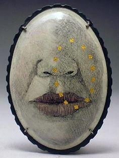 Jessica Calderwood 'Asymmetry' Brooch- Enamel on copper, sterling, 18k foil.