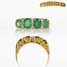 Antique Ring - 1906 18k Gold Emerald Paste White Sapphire Ring, Paste Emerald Ring, Edwardian Ring Antique Jewelry Victorian Ring Size 5.25 by HeartofHeartsJewels on Etsy