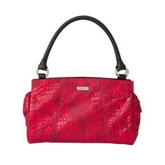 "Karma: ($34.95) What says ""sexy"" more than a fiery red Shell? How about a fiery red Shell with crocodile print? The Karma for Demi Miche Bags is so sizzling, she just might stop traffic! Glossy faux croc in the hottest of reds features subtle shading, contrasting soft black stitching and smooth ruching detail on the sides. Back zippered pocket. Side seams with square bottom."