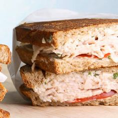 Turkey & Tomato Panini ~ A creamy spread full of Parmesan and fresh basil cozies up to turkey and summer-ripe tomato slices for a savory hot sandwich that will quickly become a go-to mealtime solution.