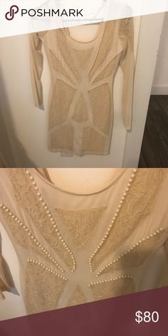Nasty Gal formal dress Sheer nasty gal formal dress with lace details, mix of cream and white, very sheer, fits snug, zip up back, long sleeves,  worn only once, great condition Nasty Gal Dresses Wedding