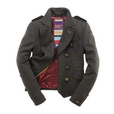 Superdry Cropped Cavalry Jacket ($450) ❤ liked on Polyvore featuring outerwear, jackets, coats, coats & jackets, dark charcoal, cropped jacket, superdry jacket, superdry, military jacket and steelers jacket