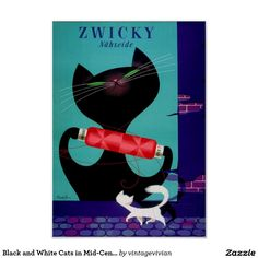Black and White Cats in Mid-Century Advert Poster