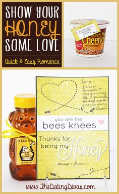 Show your HONEY some love- with a winning combination of love notes and honey themed treats! www.TheDatingDivas.com #romancetip #freeprintable