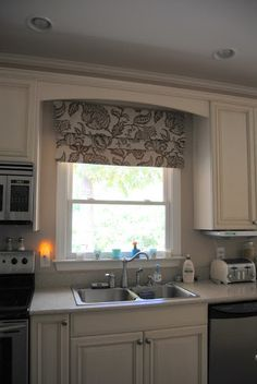 DIY Faux Roman shade, i like the pattern on the curtains and the molding above the window coming from the cabinets Kitchen Redo, Kitchen Remodel, Kitchen Design, Kitchen Cabinets, Maple Cabinets, Kitchen Stuff, Kitchen Ideas, Kitchen Curtains, Kitchen Windows