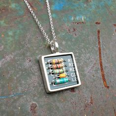 upcycled circuit board necklace with awesome resistors and sterling silver chain recycled jewelry