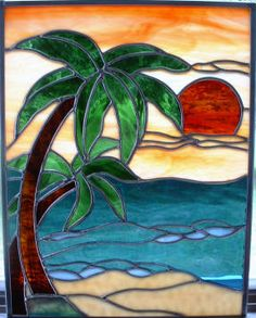 Sally Crutcher - Stained Glass Gallery beach scene palm trees sunset