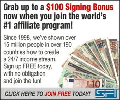 NEW incentive for all new SFI affiliates SIGNING BONUSES! What's a Signing Bonus (SB)? It's a bonus you now qualify for when you sign up with SFI!! There are requirements from you See Here  by cs...