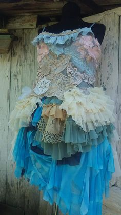 Dress, fae, wedding dress, alternative wedding, bridal,faerie punk, mermaid, layers and frills, Marrie Antoinette, steampunk, roccoco, lace