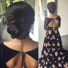 Another one of clients from last weekend. I will only be sharing an image of her hairstyle because she was a little camera shy Absolutely adored her purple velvet lengha Saree Blouse Neck Designs, Choli Designs, Fancy Blouse Designs, Lehenga Designs, Indian Blouse Designs, Blouse Patterns, Indian Designer Wear, Indian Outfits, Designer Dresses