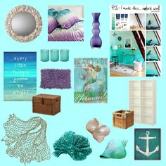 mermaid room-similar color scheme and bedding to what I have in mind for redoing the girls' room