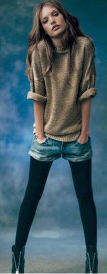 Shorts over Leggings with Sweater