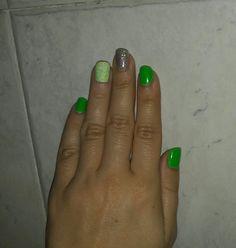 Green silver glitter nail art