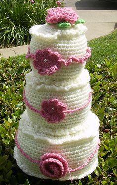 3-layer Wedding Cake by Sara Duggan #crochet