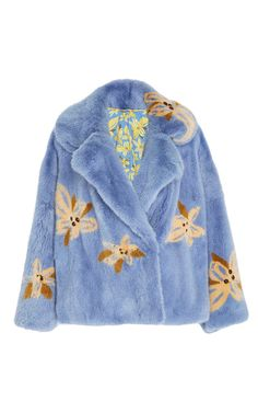 This **Saks Potts** Karen Printed Mink Coat features a standard lapel, bell sleeve silhouette, and allover print.