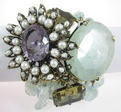NEW IRADJ MOINI Aquamarine Angel Coral Amethyst Pearl Citrine Brooch Bracelet at www.ShopLindasStuff.com