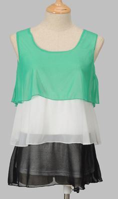 Candy colour round collar vest ZR27852 Green layers