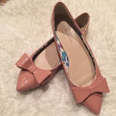 BCBG flat shoes BCBG Pointy flats- blush pink patent,with a beautiful bow on top, size38,see the last picture for scuffs on the back.. BCBGeneration Shoes Flats & Loafers