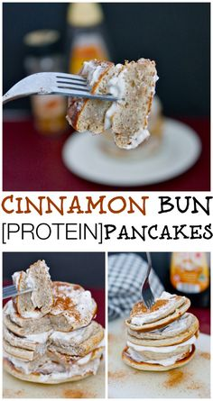 Cinnamon Bun Pancakes- High in protein (without protein powder!), sugar free, gluten free and fluffy- tastes BETTER than a Cinnabon Cinnamon Roll! #glutenfree