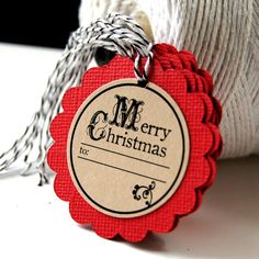 Christmas Gift Tags (Qty. 6) . MERRY CHRISTMAS Old School Style Kraft on Red Scallop Gift Tags $4.25