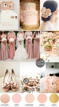Blush rose gold and peach wedding Colours { sophisticated and beautiful, elegant colours } Blush and rose gold are all the rage.  Check out the decor at www.pinterest.com/laurenweds/wedding-decor?utm_content=bufferfcc78&utm_medium=social&utm_source=pinterest.com&utm_campaign=buffer