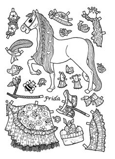 four princess coloring pages to print & dress | dolls - Paper Doll Clothes Coloring Pages