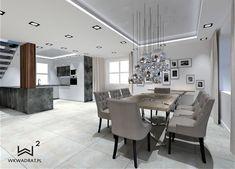 Projekt kuchni z jadalnią w domku jednorodzinnym Conference Room, Dining Table, Furniture, Home Decor, Decoration Home, Room Decor, Dinner Table, Home Furnishings, Dining Room Table