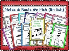 This is the Note and Rest Values (British Version) Go Fish card game set. There are 14 different notes, rests and symbols for students to review. Included in this deck are the following: semibreve note, dotted minim note, minim note, crotchet note, quaver note, semi quaver note, semibreve rest, minim rest, crotchet rest, quaver rest, semiquaver rest, time signature (4/4), bar line and double or final bar line. This is a great way to review the note and Rest values for your students.