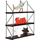 WELLAND 3-Tier Display Wall Shelf Storage Rack Wall Rack Holder Rack, Espresso