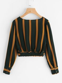 Shop V Neckline Striped Surplice Crop Top online. SheIn offers V Neckline Striped Surplice Crop Top & more to fit your fashionable needs. Teen Fashion Outfits, Hijab Fashion, Stylish Outfits, Girl Fashion, Girl Outfits, Fashion Dresses, Jugend Mode Outfits, Hijab Stile, Crop Top Outfits