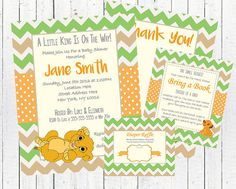 Lion King Baby Shower Invitation Card Set PDF Kit by ShowerSigns
