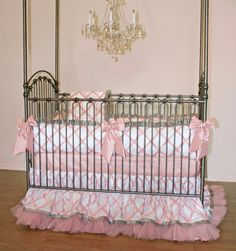 Avory Crib Bedding | White and Pink Baby Bedding - Jack and Jill Boutique