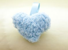Love Heart Keyring Knitted Blue & Fluffy Wool by Kookooed on Etsy, £3.00