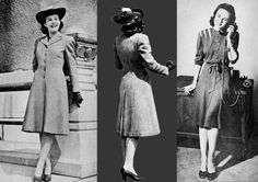 American Women Winter Fashion on the Eve of War – 1941 US Fashion report by Catherine Roberts for Glamourdaze. Here they are … the winter fashion for 1941 During the summer, thousands of you told your favourite department store exactly what you wanted 1940s Fashion Women, Retro Fashion, Vintage Fashion, Mom Fashion, Vintage Clothing, Women's Clothing, Fashion Outfits, 1940s Woman, Palais Des Festivals