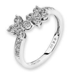 Diamantring Two Flowers, Weißgold 750, 18 Diamanten