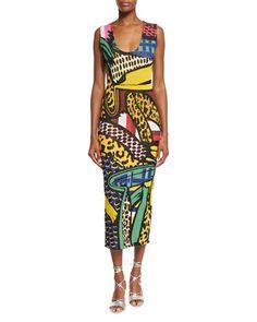 Sleeveless+Scoop-Neck+Intarsia+Midi+Dress,+Multi+Colors+by+Stella+McCartney+at+Neiman+Marcus.