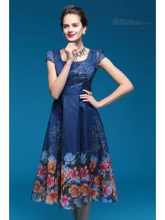 Teenloveme Women's Retro Square Neck Short Sleeve Organza Floral Printed Slim Dress