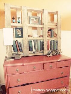 pallet desk hutch! so many spots to put all your things.