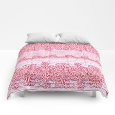 Dance of the Red Fans Comforters by Vikki Salmela, new, #holiday #red and #white in an #ornamental #paisley type #contemporary #bohemian #striped #art on #home #fashion #decor for the #bedroom. Warm and comfy, coordinating products available; #rugs, #clocks, #pillows, wall art, and #bathroom decor.