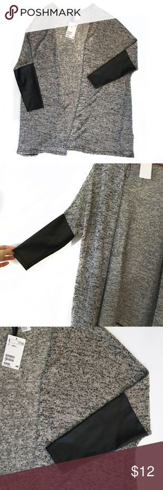 "H&M Long Cardigan Size Small Grey sweater with faux-leather sleeves. Perfect for winter layering. New with tags, excellent condition. Length: about 29"" at longest. H&M Sweaters Cardigans"