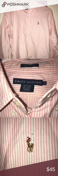 Women's long sleeve polo shirt like new long sleeve pink and white striped polo button up Polo by Ralph Lauren Tops Button Down Shirts