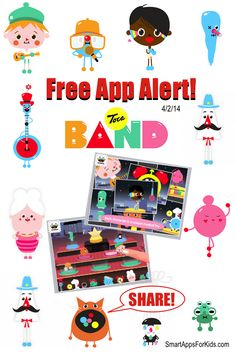 Free App Alert! Toca Boca Fans! Toca Band is FREE! Download now and share!  http://www.smartappsforkids.com/2014/04/free-app-alert-best-music-app-for-kids-toca-band-goes-free.html