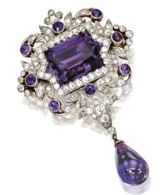 gold, platinum, diamond and amethyst brooch by Tiffany & Co., ca. 1900