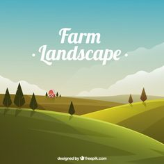 Meadow landscape with barn Free Vector