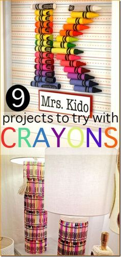 9 Amazing Crayon Crafts - so many creative, fun ideas. Great for back to school when you can buy crayons on clearance! Fun for preschool, kindergarten, 1st grade, 2nd grade and more.